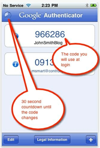 authentication code on iphone app