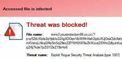 screenshot of malware being detected by avg antivirus software