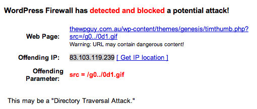 Firewall message about blocking hacking attempt