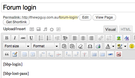 forum login & pasoword reset