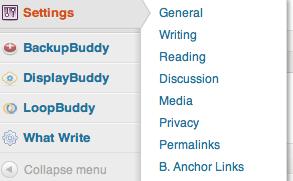 b Anchor links settings