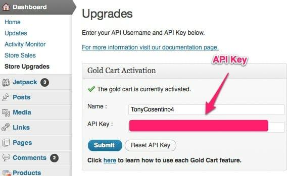 WP e-Commerce Gold cart - Store Upgrades - API Key