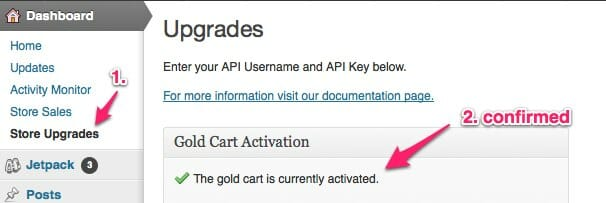 WP e-Commerce Gold Cart activated