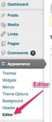 WordPress - appearance - editor