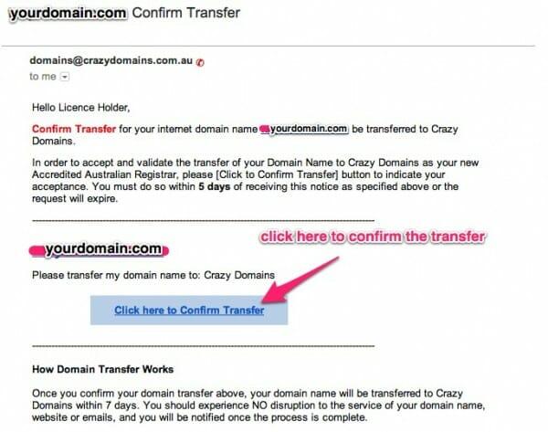 confirm via email the domain name transfer to crazydomains.com.au