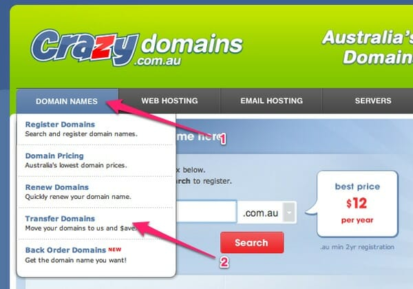 How to transfer a domain to crazydomains