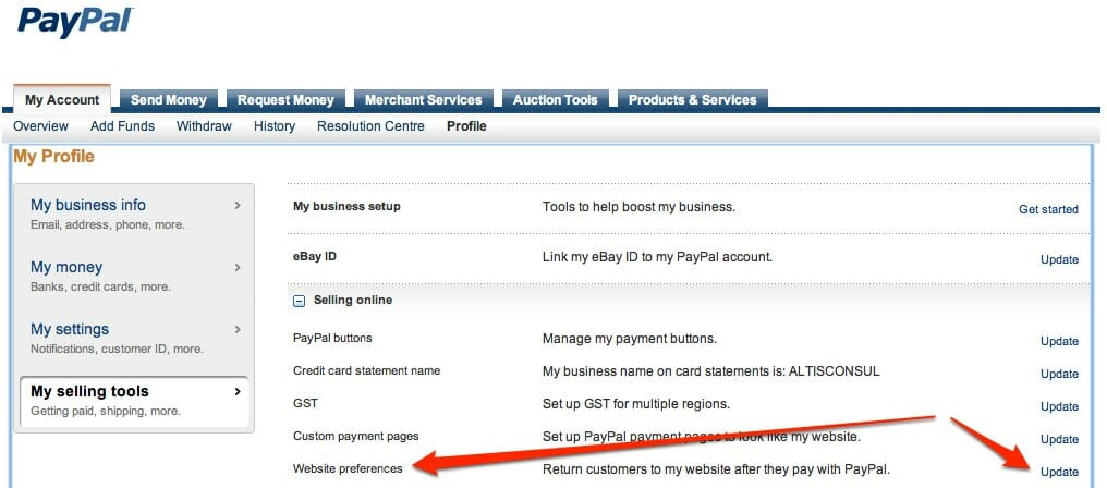Paypal - Website Payment Preferences