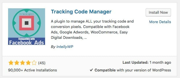 Tracking code manager plugin