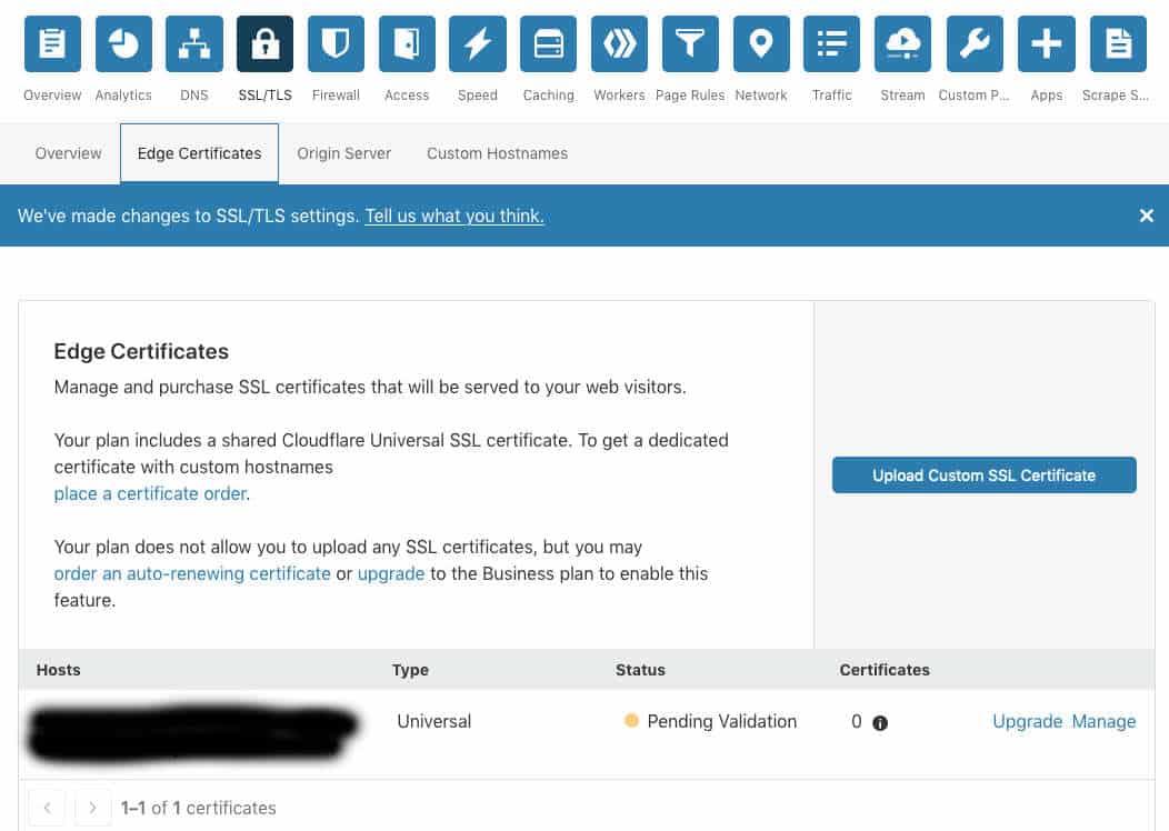cloudflare-ssl-edge certificate pending validation